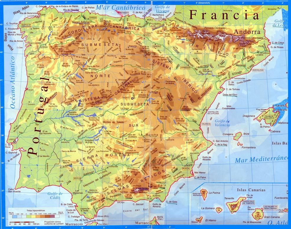 Mapa de España Físico Completo | Tus Apuntes Para Bachillerato
