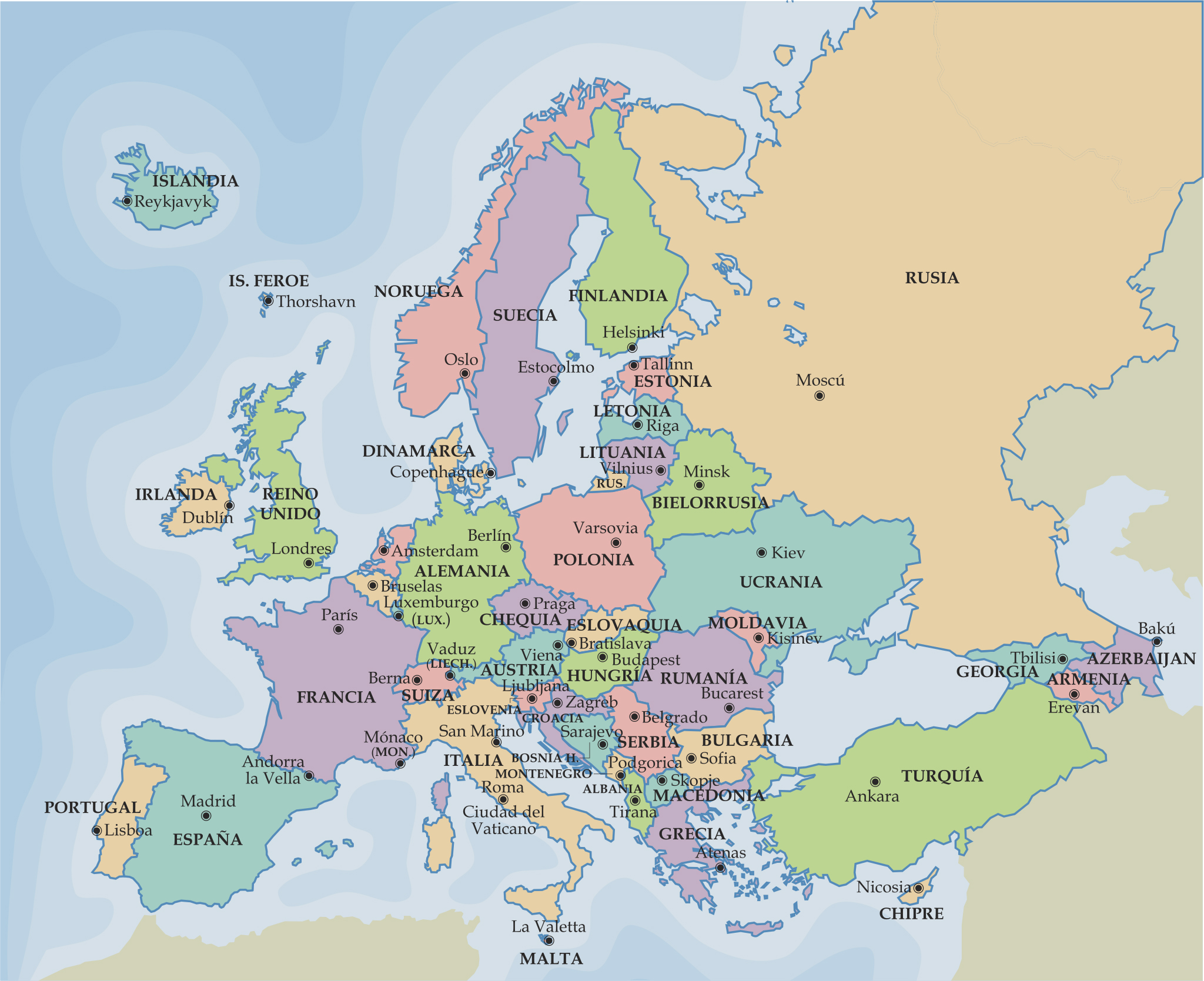mapa politico da europa Mapa Politico Europa Imprimir mapa politico da europa